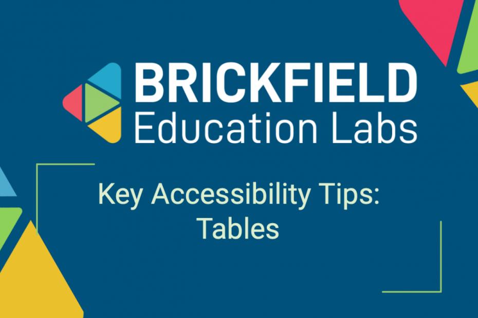 Brickfield Education Labs Thumbnail, Tables Tips