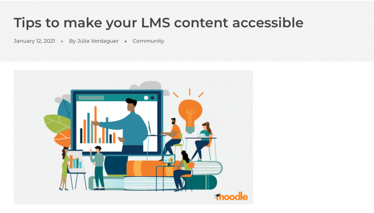 Screengrab from Moodle Bog Post 'Tips to make your LMS Content Accessible