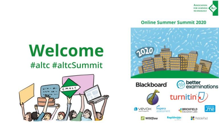Welcome poster from ALT Summer Summit 2020, shows a cartoon of figures holding up placards and a laptop in the air, on the right hand side it shows 11 company logo's which sponsored the summer summit, featuring Brickfield Education Labs logo