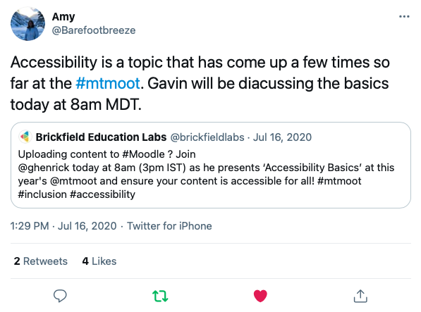 "Tweet from @barefootbreeze ""Accessibility is a topic that has come up a few times so far at the mtmoot, Gavin will be discussing the basics today at 8am MDT"""
