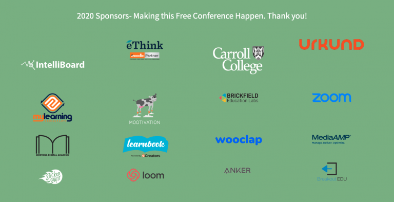 "Image shows 16 company logos underneath the heading ""2020 Sponsors - Making this free conference happen. Thank you!"", logo's include brickfield education labs, zoom, unkind, wooclap, intelliboard and others"
