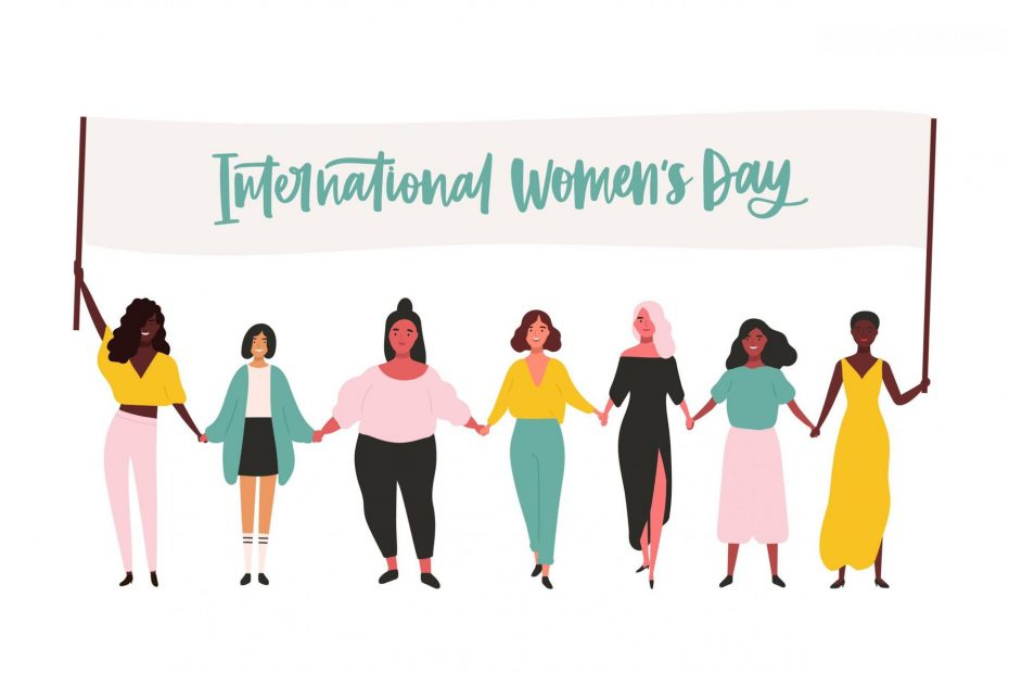 """Graphic of various women holding banner with the text """"International Woman's Day"""""""
