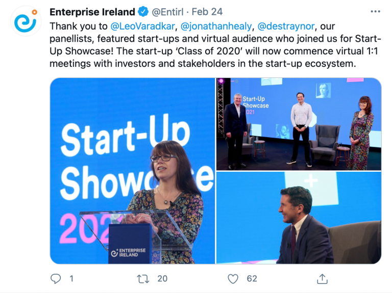 Tweet from @Entirl thanking panelists of Leo Varadkar Jonathon Healy and des trainer with added pictures of the panels in action