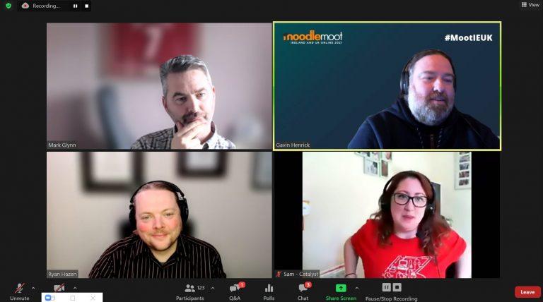 Screenshot of Zoom Webinar showing Mark Glynn, Ryan Hazen, Gavin Henrick and Sam Taylor with camera's and mics on
