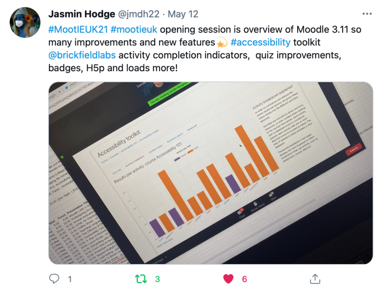 """Screenshot of tweet reasding """"#MootIEUK21 #mootieuk opening session is overview of Moodle 3.11 so many improvements and new features💫 #accessibility toolkit @brickfieldlabs activity completion indicators, quiz improvements, badges, H5p and loads more!"""""""
