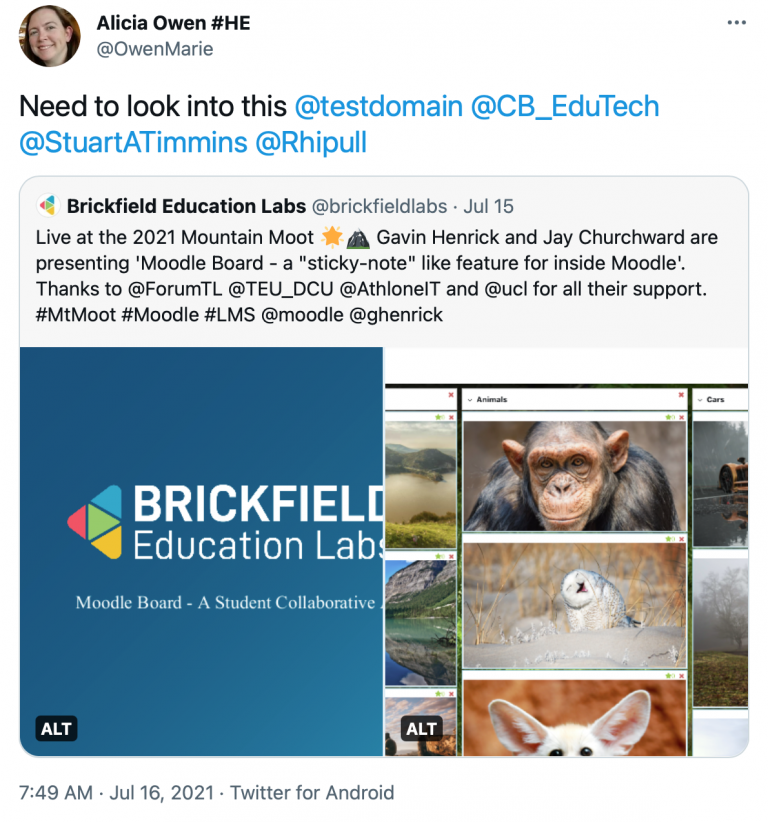 """Alt text: Tweet in response to brickfield tweet about moodle board from alicia owen reading """"Need to look into this @testdomain @CB_EduTech"""""""