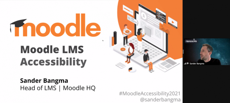 Sander Bangma shares screen over zoom webinar with slide reading 'Moodle LMS Accessibility Sander Bangma Head of Moodle LMS Moodle HQ