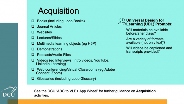 Slides focuses on one of the six learning types: Aquitision. The left hand column reads; Books, Journal Articles, Websites, Lectures/slides, Multimedia learning objects, demonstrations, podcasts/audio files, videos, web conferencing/virtual classrooms and glossaries. The right hand column reads; UDL prompts: Will materials be available before/after class? Are a variety of formats available? Will videos be captioned and transcripts provided?