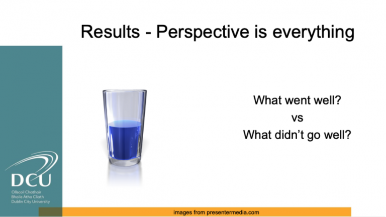 Slide showing a shot glass half-filled with the heading reading 'Results - Perspective is everything, what went well vs what didn't go well?'